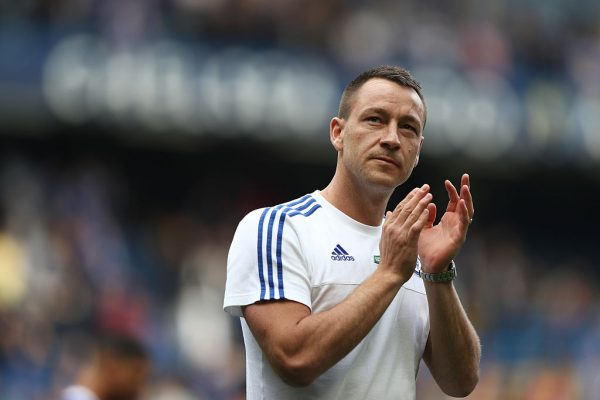 LONDON, ENGLAND - MAY 15:  John Terry of Chelsea applauds supporters after the Barclays Premier League match between Chelsea and Leicester City at Stamford Bridge on May 15, 2016 in London, England.  (Photo by Paul Gilham/Getty Images)