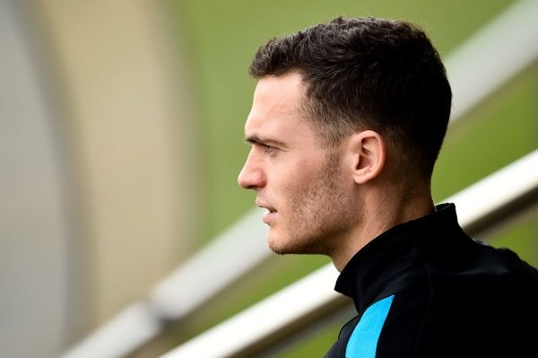 BARCELONA, SPAIN - MARCH 15:  Thomas Vermaelen of FC Barcelona looks on  during a training session ahead of their UEFA Champions Leage round of 16 second leg match against Arsenal FC at Ciutat Esportiva on March 15, 2016 in Barcelona, Spain.  (Photo by David Ramos/Getty Images)