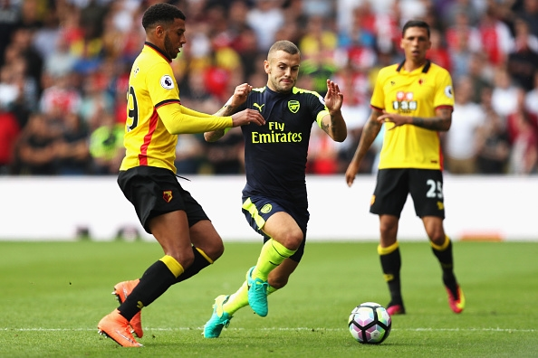 during the Premier League match between Watford and Arsenal at Vicarage Road on August 27, 2016 in Watford, England.