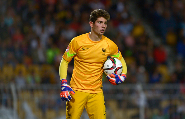 BURGAS, BULGARIA - MAY 22:   Luca Zidane of France U17 in action during  the UEFA European Under-17 Championship Final match between Germany U17 and France U17 at Lazur stadium on May 22, 2015 in Burgas, Bulgaria. (Photo by Nikolay Doychinov/Getty Images)