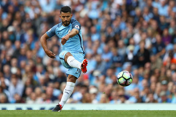 MANCHESTER, ENGLAND - AUGUST 13:  Sergio Aguero of Manchester City shoots at goal during the Premier League match between Manchester City and Sunderland at the Etihad Stadium on August 13, 2016 in Manchester, England.  (Photo by Michael Steele/Getty Images)