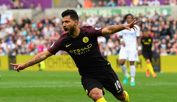SWANSEA, WALES - SEPTEMBER 24:  Sergio Aguero of Manchester City celebrates scoring his sides first goal during the Premier League match between Swansea City and Manchester City at the Liberty Stadium on September 24, 2016 in Swansea, Wales.  (Photo by Stu Forster/Getty Images)