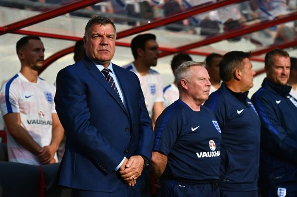 TRNAVA, SLOVAKIA - SEPTEMBER 04:  (L-R) Sam Allardyce manager of England, Sammy Lee assistant manager of England, Craig Shakespeare coach of England and Martyn Margetson goalkeeping coach of England look on prior to the 2018 FIFA World Cup Group F qualifying match between Slovakia and England at City Arena on September 4, 2016 in Trnava, Slovakia.  (Photo by Dan Mullan/Getty Images)