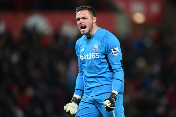 STOKE ON TRENT, ENGLAND - MARCH 02:  Jack Butland goalkeeper of Stoke City celebrates the opening goal scored by Xherdan Shaqiri (not pictured) during the Barclays Premier League match between Stoke City and Newcastle United at the Britannia Stadium on March 2, 2016 in Stoke on Trent, England.  (Photo by Michael Regan/Getty Images)