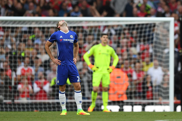 LONDON, ENGLAND - SEPTEMBER 24:  Gary Cahill of Chelsea (L) shows dejectiong after Arsenal score during the Premier League match between Arsenal and Chelsea at the Emirates Stadium on September 24, 2016 in London, England.  (Photo by Shaun Botterill/Getty Images)