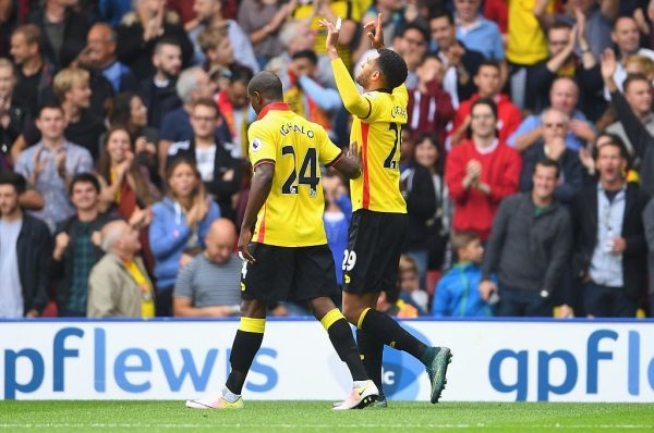 WATFORD, ENGLAND - SEPTEMBER 18:  Etienne Capoue of Watford (R) celebrates scoring his sides first goal with Odion Ighalo of Watford (L) during the Premier League match between Watford and Manchester United at Vicarage Road on September 18, 2016 in Watford, England.  (Photo by Laurence Griffiths/Getty Images)