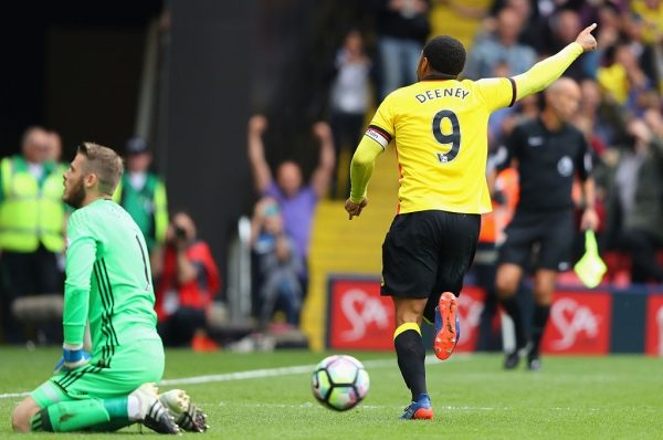 WATFORD, ENGLAND - SEPTEMBER 18:  Troy Deeney of Watford celebrates scoring his sides third goal during the Premier League match between Watford and Manchester United at Vicarage Road on September 18, 2016 in Watford, England.  (Photo by Richard Heathcote/Getty Images)