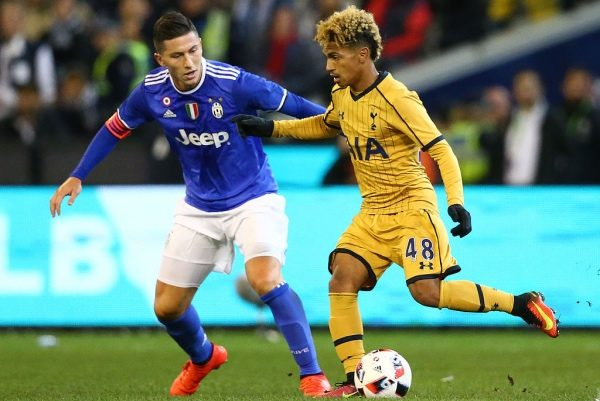 MELBOURNE, AUSTRALIA - JULY 26:  Marcus Edwards of Tottenham Hotspur controls the ball during the 2016 International Champions Cup match between Juventus FC and Tottenham Hotspur at Melbourne Cricket Ground on July 26, 2016 in Melbourne, Australia.  (Photo by Scott Barbour/Getty Images)