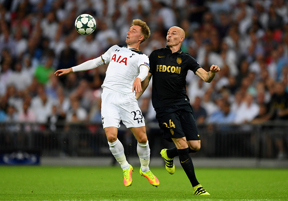 LONDON, ENGLAND - SEPTEMBER 14:  Christian Eriksen of Tottenham Hotspur and Andrea Raggi of AS Monaco in action during the UEFA Champions League match between Tottenham Hotspur FC and AS Monaco FC at Wembley Stadium on September 14, 2016 in London, England.  (Photo by Shaun Botterill/Getty Images)