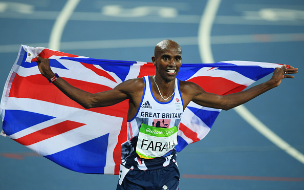 RIO DE JANEIRO, BRAZIL - AUGUST 20:  Mohamed Farah of Great Britain reacts after winning gold in the Men's 5000 meter Final on Day 15 of the Rio 2016 Olympic Games at the Olympic Stadium on August 20, 2016 in Rio de Janeiro, Brazil.  (Photo by Matthias Hangst/Getty Images)