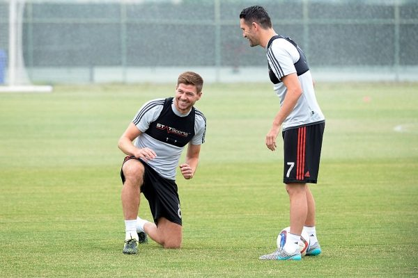 CARSON, CA - JULY 7: New Los Angeles Galaxy midfielder Steven Gerrard #8 and Robbie Keane #7 during a training session on July 7, 2015 at StubHub Center in Carson, California. The former Liverpool captain Steven Gerrard is scheduled to play his first MLS match on Friday, July 17 at StubHub Center against San Jose Earthquakes. (Photo by Kevork Djansezian/Getty Images)