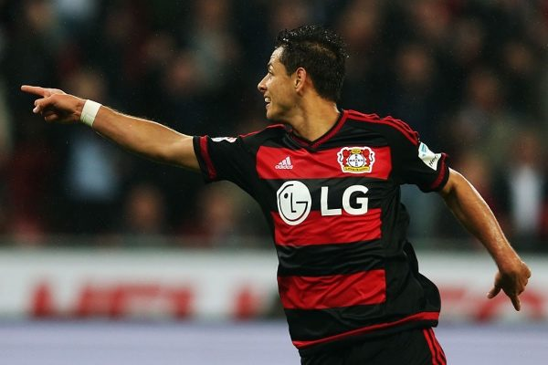 LEVERKUSEN, GERMANY - SEPTEMBER 23: Javier Hernandez of Leverkusen celebrates his team's first goal during the Bundesliga match between Bayer Leverkusen and 1. FSV Mainz 05 at BayArena on September 23, 2015 in Leverkusen, Germany.  (Photo by Alex Grimm/Bongarts/Getty Images)