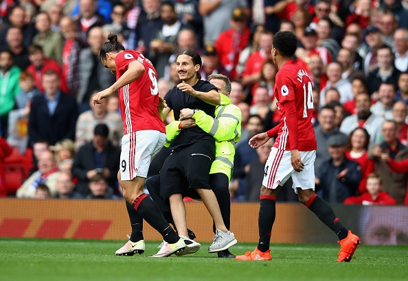 during the Premier League match between Manchester United and Leicester City at Old Trafford on September 24, 2016 in Manchester, England.