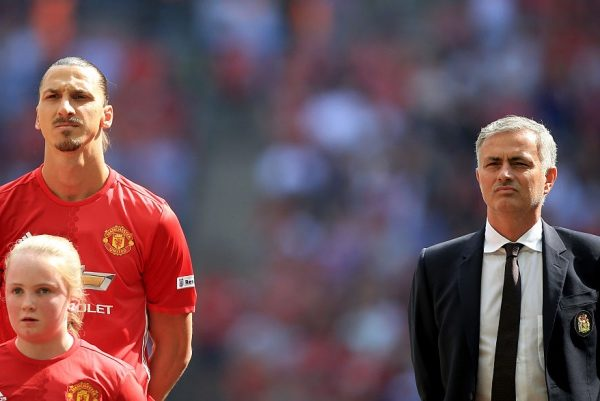 LONDON, ENGLAND - AUGUST 07: (L) Zlatan Ibrahimovic of Manchester United and (R) Manager of Manchester United, Jose Mourinho line up before kick off during The FA Community Shield match between Leicester City and Manchester United at Wembley Stadium on August 7, 2016 in London, England.  (Photo by Ben Hoskins/Getty Images)