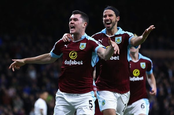 BURNLEY, ENGLAND - SEPTEMBER 26:  Michael Keane of Burnley (L) celebrates scoring his sides second goal with team George Boyd of Burnley (R) during the Premier League match between Burnley and Watford at Turf Moor on September 26, 2016 in Burnley, England.  (Photo by Clive Brunskill/Getty Images)