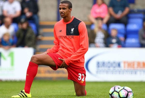 BIRKENHEAD, ENGLAND - JULY 08: Joel Matip of Liverpool warms up during the Pre-Season Friendly match between Tranmere Rovers and Liverpool at Prenton Park on July 8, 2016 in Birkenhead, England. (Photo by Dave Thompson/Getty Images)