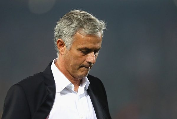ROTTERDAM, NETHERLANDS - SEPTEMBER 15:  Jose Mourinho, Manager of Manchester United looks dejected following his teams defeat in the UEFA Europa League Group A match between Feyenoord and Manchester United FC at Feijenoord Stadion on September 15, 2016 in Rotterdam, .  (Photo by Dean Mouhtaropoulos/Getty Images)