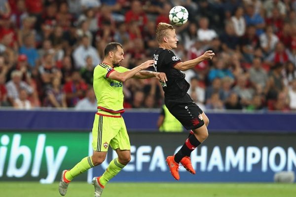 LEVERKUSEN, GERMANY - SEPTEMBER 14:  Sergey Ignashevich of CSKA Moscow and Joel Pohjanpalo of Bayer Leverkusen jump for the ball during the UEFA Champions League match between Bayer 04 Leverkusen and PFC CSKA Moskva at BayArena on September 14, 2016 in Leverkusen, Germany.  (Photo by Alex Grimm/Bongarts/Getty Images)