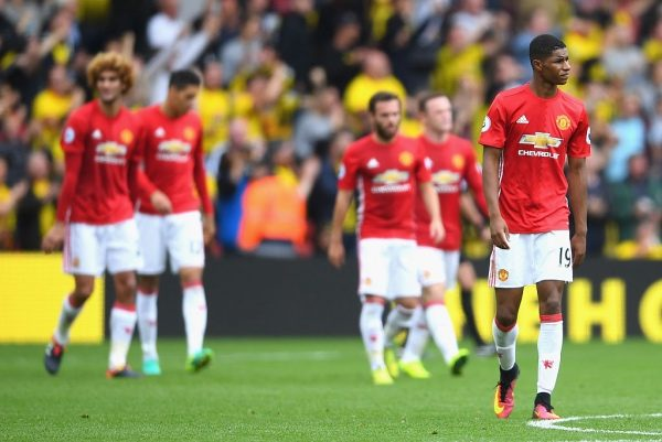 WATFORD, ENGLAND - SEPTEMBER 18: Marcus Rashford of Manchester United reacts after the final whistle  during the Premier League match between Watford and Manchester United at Vicarage Road on September 18, 2016 in Watford, England.  (Photo by Laurence Griffiths/Getty Images)