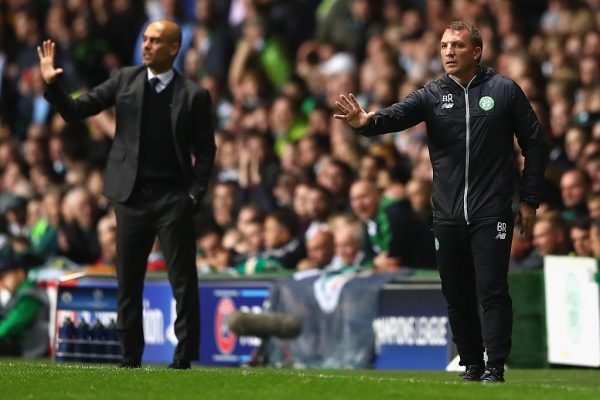 GLASGOW, SCOTLAND - SEPTEMBER 28:  Brendan Rodgers, Manager of Celtic issues instructions to his players next to Josep Guardiola, Manager of Manchester City during the UEFA Champions League group C match between Celtic FC and Manchester City FC at Celtic Park on September 28, 2016 in Glasgow, Scotland.  (Photo by Michael Steele/Getty Images)