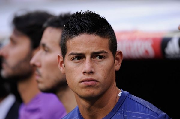 MADRID, SPAIN - AUGUST 27:  James Rodriguez of Real Madrid looks on from the bench before the La Liga match between Real Madrid CF and RC Celta de Vigo at Estadio Santiago Bernabeu on August 27, 2016 in Madrid, Spain.  (Photo by Denis Doyle/Getty Images)