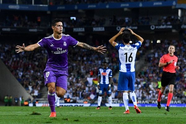 BARCELONA, SPAIN - SEPTEMBER 18:  James Rodriguez of Real Madrid CF celebrates after scoring his team's first goal during the La Liga match between RCD Espanyol and Real Madrid CF at the RCDE stadium on September 18, 2016 in Barcelona, Spain.  (Photo by David Ramos/Getty Images)