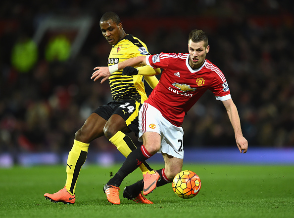 MANCHESTER, ENGLAND - MARCH 02:  Odion Ighalo of Watford challenges Morgan Schneiderlin of Manchester United during the Barclays Premier League match between Manchester United and Watford at Old Trafford on March 2, 2016 in Manchester, England.  (Photo by Laurence Griffiths/Getty Images)