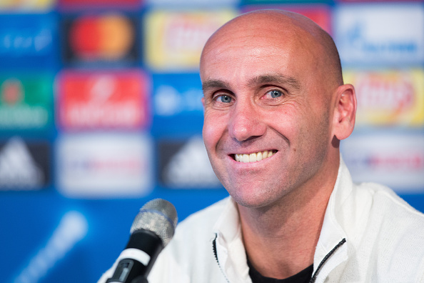 MOENCHENGLADBACH, GERMANY - SEPTEMBER 27: Coach Andre Schubert of Moenchengladbach smiles during a press conference ahead of the UEFA Champions League match between FC Barcelona and VfL Borussia Moenchengladbach at Borussia-Park on September 27, 2016 in Moenchengladbach, Germany. (Photo by Maja Hitij/Bongarts/Getty Images)