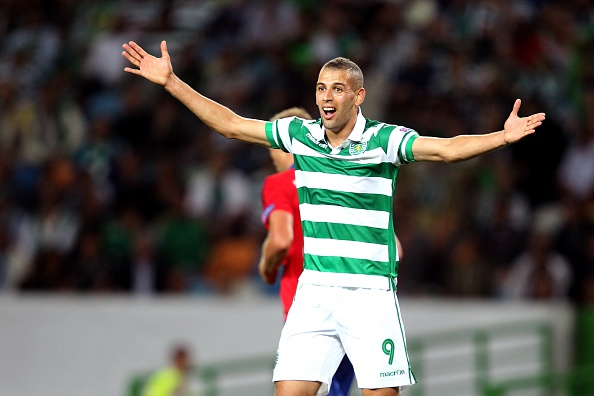 LISBON, PORTUGAL - AUGUST 18: Sporting's forward Islam Slimani reacts during the match between Sporting CP and CSKA Moscow for UEFA Champions League: Qualifying Round Play Off First Leg on August 18, 2015 in Lisbon, Portugal.  (Photo by Carlos Rodrigues/Getty Images)