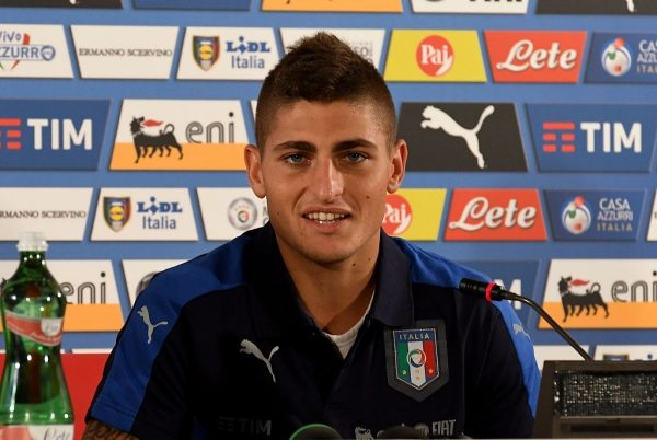 BARI, ITALY - SEPTEMBER 03:  Marco Verratti of Italy speaks with the media during a press conference at Stadio San Nicola on September 3, 2016 in Bari, Italy.  (Photo by Claudio Villa/Getty Images)