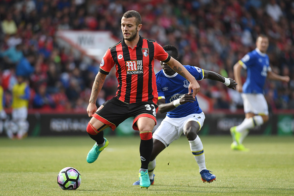 BOURNEMOUTH, ENGLAND - SEPTEMBER 24: Jack Wilshere of AFC Bournemouth in action during the Premier League match between AFC Bournemouth and Everton at the Vitality Stadium on September 24, 2016 in Bournemouth, England. (Photo by Mike Hewitt/Getty Images)