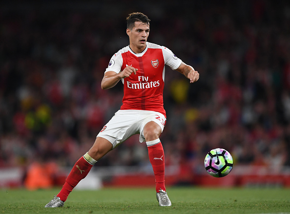 LONDON, ENGLAND - SEPTEMBER 24:  Granit Xhaka of Arsenal in action during the Premier League match between Arsenal and Chelsea at the Emirates Stadium on September 24, 2016 in London, England.  (Photo by Shaun Botterill/Getty Images)