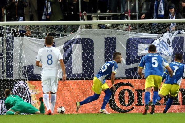 5.9.2016, Veritas Stadion, Turku, Finland. FIFA World Cup 2018 Qualifying match, Finland v Kosovo. Valon Berisha (15) celebrates after scoring from the penalty the first ever goal for Kosovo in a competetive match.