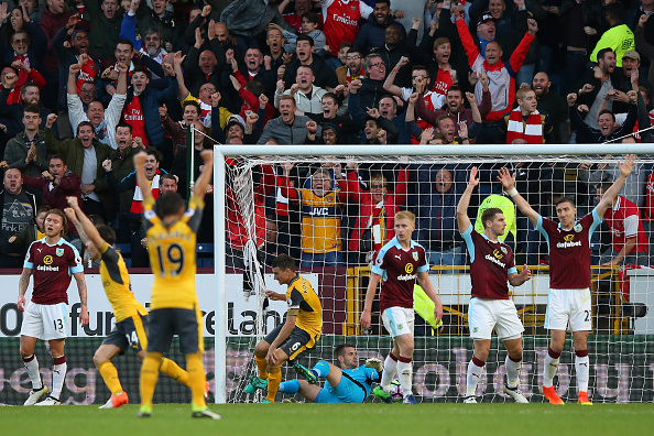 during the Premier League match between Burnley and Arsenal at Turf Moor on October 2, 2016 in Burnley, England.