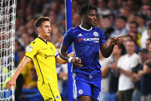 LONDON, ENGLAND - AUGUST 23: Michy Batshuayi of Chelsea celebrates scoring his sides third goal during the EFL Cup second round match between Chelsea and Bristol Rovers at Stamford Bridge on August 23, 2016 in London, England.  (Photo by Michael Regan/Getty Images )
