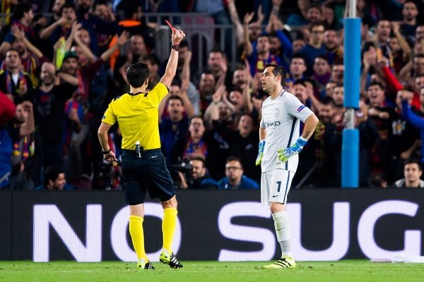 BARCELONA, SPAIN - OCTOBER 19: Claudio Bravo of Manchester City FC is shown a red card during the UEFA Champions League group C match between FC Barcelona and Manchester City FC at Camp Nou on October 19, 2016 in Barcelona, Spain. (Photo by Alex Caparros/Getty Images)