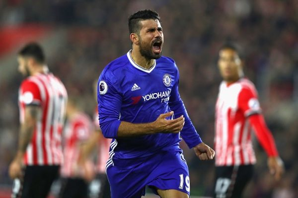 SOUTHAMPTON, ENGLAND - OCTOBER 30:  Diego Costa of Chelsea (C) celebrates scoring his sides second goal during the Premier League match between Southampton and Chelsea at St Mary's Stadium on October 30, 2016 in Southampton, England.  (Photo by Clive Rose/Getty Images)