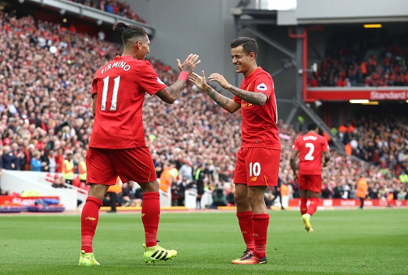 during the Premier League match between Liverpool and Hull City at Anfield on September 24, 2016 in Liverpool, England.