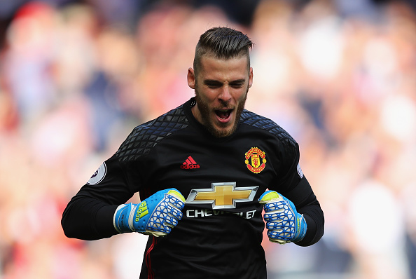 MANCHESTER, ENGLAND - OCTOBER 02: David De Gea of Manchester United celebrates his side scoring during the Premier League match between Manchester United and Stoke City at Old Trafford on October 2, 2016 in Manchester, England.  (Photo by Richard Heathcote/Getty Images)