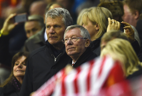 LIVERPOOL, ENGLAND - MARCH 10:  David Gill and Sir Alex Ferguson look on from the stand prior to the UEFA Europa League Round of 16 first leg match between Liverpool and Manchester United at Anfield on March 10, 2016 in Liverpool, United Kingdom.  (Photo by Laurence Griffiths/Getty Images)