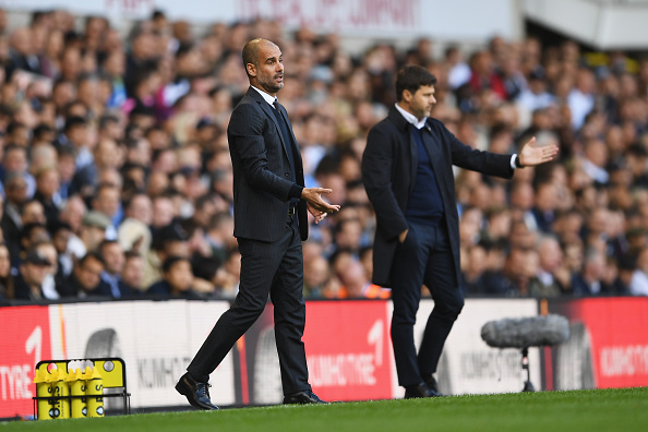 LONDON, ENGLAND - OCTOBER 02: Josep Guardiola, Manager of Manchester City gives his team instructions during the Premier League match between Tottenham Hotspur and Manchester City at White Hart Lane on October 2, 2016 in London, England.  (Photo by Shaun Botterill/Getty Images)