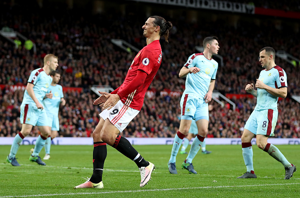 MANCHESTER, ENGLAND - OCTOBER 29: Zlatan Ibrahimovic of Manchester United reacts during the Premier League match between Manchester United and Burnley at Old Trafford on October 29, 2016 in Manchester, England.  (Photo by Mark Robinson/Getty Images)