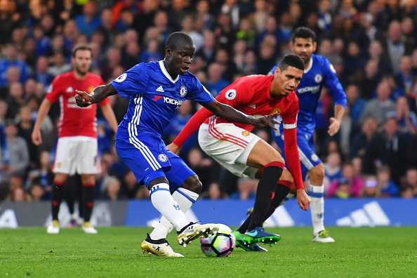 LONDON, ENGLAND - OCTOBER 23:  N'Golo Kante of Chelsea scores his sides fourth goal during the Premier League match between Chelsea and Manchester United at Stamford Bridge on October 23, 2016 in London, England.  (Photo by Mike Hewitt/Getty Images)