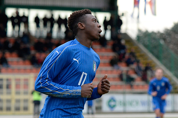 MANZANO, ITALY - FEBRUARY 16:  Bioty Moise Kean of Italy U17 celebrates after scoring his team's second goal during the international friendly match between Italy U17 and Serbia U17 at Stadio Comunale  on February 16, 2016 in Manzano, Italy.  (Photo by Dino Panato/Getty Images)