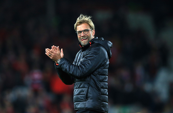 LIVERPOOL, ENGLAND - OCTOBER 22:  Jurgen Klopp, Manager of Liverpool applauds the fans following their team's 2-1 victory during the Premier League match between Liverpool and West Bromwich Albion at Anfield on October 22, 2016 in Liverpool, England.  (Photo by Jan Kruger/Getty Images)