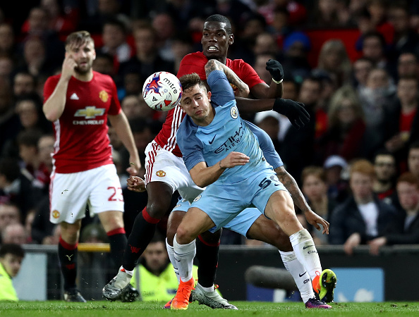 during the EFL Cup fourth round match between Manchester United and Manchester City at Old Trafford on October 26, 2016 in Manchester, England.