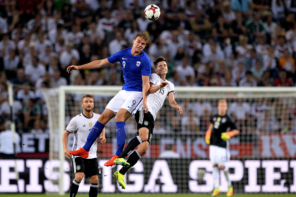 MOENCHENGLADBACH, GERMANY - AUGUST 31:  (L-R) Eero Markkanen of Finland and Julian Weigl of Germany battle for a header during the international friendly match between Germany and Finland at Borussia-Park on August 31, 2016 in Moenchengladbach, Germany.  (Photo by Sascha Steinbach/Bongarts/Getty Images)
