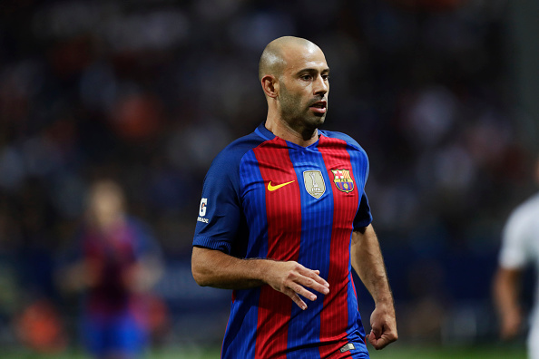 SOLNA, SWEDEN - AUGUST 03: Javier Mascherano of FC Barcelona during the Pre-Season Friendly between Leicester City FC and FC Barcelona at Friends arena on August 3, 2016 in Solna, Sweden. (Photo by Nils Petter Nilsson/Ombrello/Getty Images)