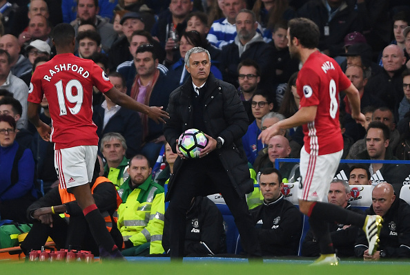 LONDON, ENGLAND - OCTOBER 23:  Jose Mourinho, Manager of Manchester United reacts during the Premier League match between Chelsea and Manchester United at Stamford Bridge on October 23, 2016 in London, England.  (Photo by Mike Hewitt/Getty Images)