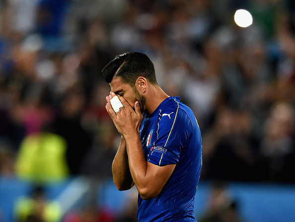 BORDEAUX, FRANCE - JULY 02:  Graziano Pelle of Italy reacts after missing during the penalty shoot out following the UEFA Euro 2016 Quarter Final match between Germany and Italy at Stade Matmut Atlantique on July 2, 2016 in Bordeaux, France.  (Photo by Claudio Villa/Getty Images)